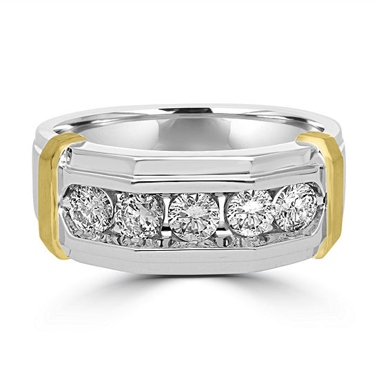 Genuine Diamond 10K Gold Round Band