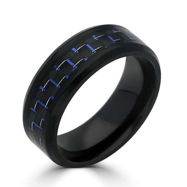 Mens 8MM Black Stainless Steel with Blue Carbon Fiber Wedding Band