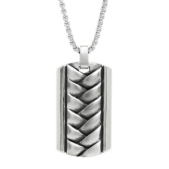 Mens Sterling Silver Dog Tag Pendant Necklace