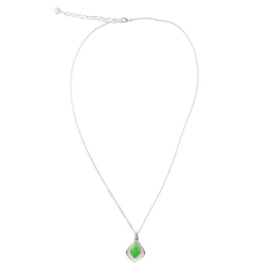 Silver Elements by Barse Womens Lab Created Green Turquoise Sterling Silver Pendant Necklace