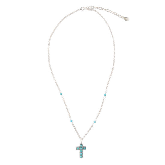 Silver Elements by Barse Womens Lab Created Blue Turquoise Sterling Silver Cross Pendant Necklace