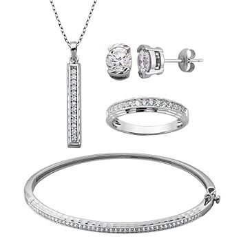 Jewelry Accessories Key Chain Bracelet Necklace Pendants Round Halo Solitaire 925 Sterling Silver Earring and Pendant Set