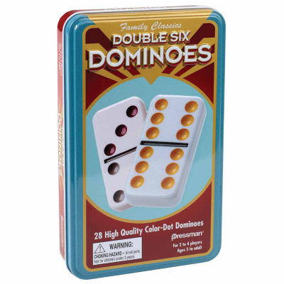 Dominoes: Double Six Color Dot Dominoes In Tin