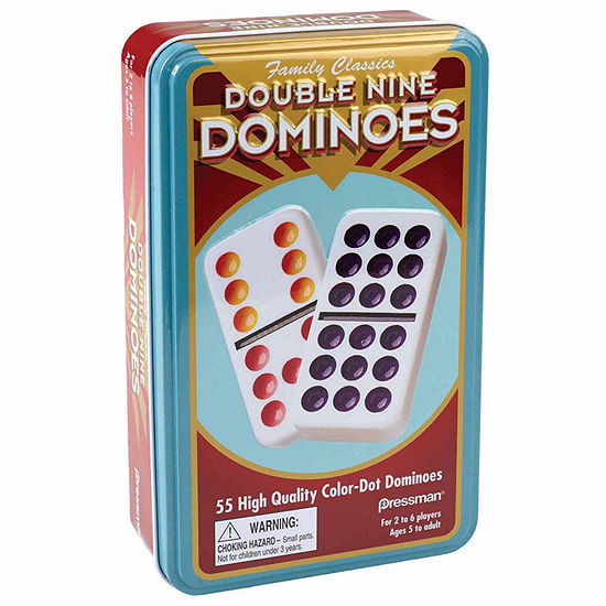 Pressman Dominoes: Double Nine Color-Dot (In Tin)
