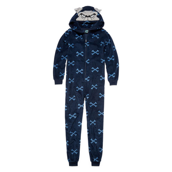 Navy Bulldog One Piece Pajama - Boys 4-20
