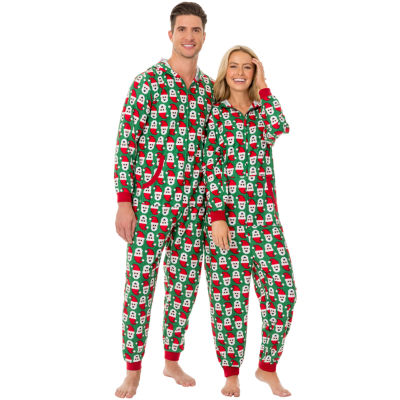Fleece Onesies® One Piece Pajama Santa Print-Men's