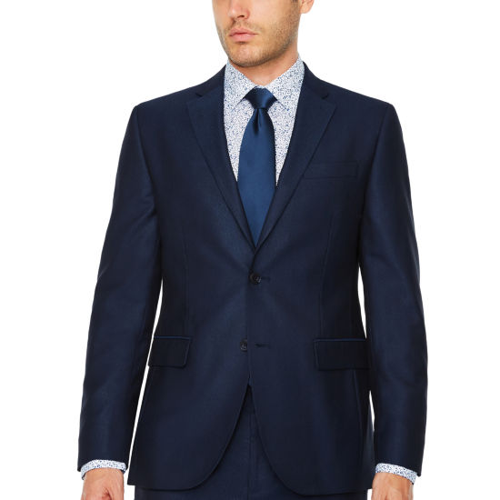 JF J.Ferrar Blue Luster Stripe Slim Fit Stretch Suit Jacket