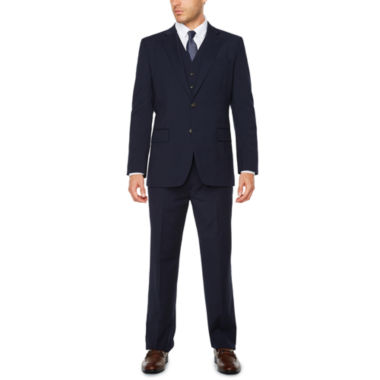 jcpenney.com | Stafford® Travel Wool Blend Stretch Navy Pin Stripe-Classic Fit