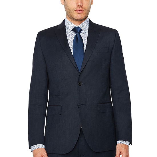 JF J.Ferrar Mens Pin Dot Stretch Slim Fit Suit Jacket-Slim