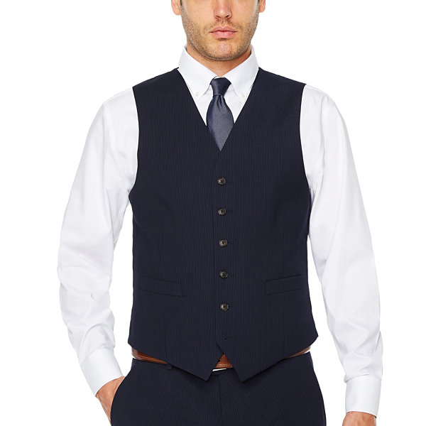 Stafford Mens Striped Stretch Classic Fit Suit Vest