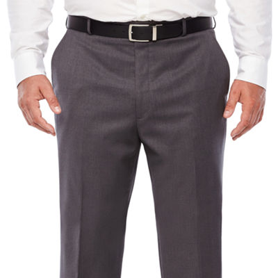 Stafford Medium Grey Travel Woven Flat Front Suit Pants-Classic Fit