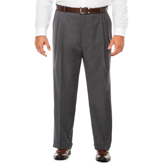 Stafford Medium Grey Travel Woven Pleated Suit Pants - Classic Fit