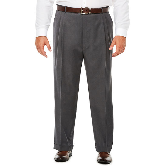 Stafford Medium Grey Travel Woven Pleated Suit Pants Classic Fit
