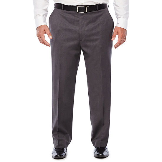 Stafford Medium Grey Travel Woven Suit Flat Front Pants-Portly