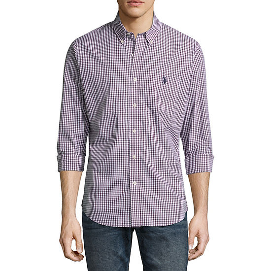 U.S. Polo Assn. Mens Long Sleeve Plaid Button-Front Shirt