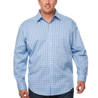 Van Heusen Long Sleeve Stripe Button-Front Shirt-Big and Tall