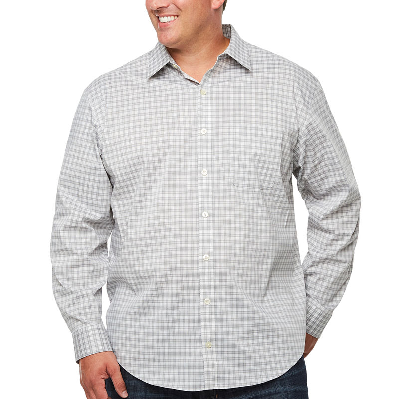 image of Van Heusen Long Sleeve Checked Button-Front Shirt-Big & Tall-ppr5007313660