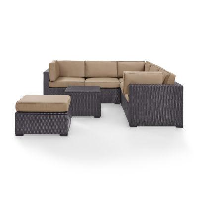 Biscayne 5-pc. Wicker Conversation Set- Loveseats, Corner Chair, Coffee Table, Ottoman