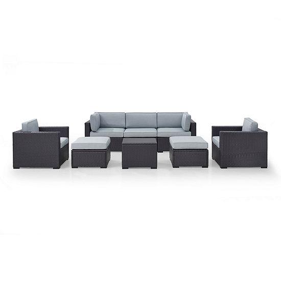 Biscayne 7-pc. Wicker Conversation Set - Loveseat, Arm Chairs, Corner Chair, Coffee Table, Ottomans