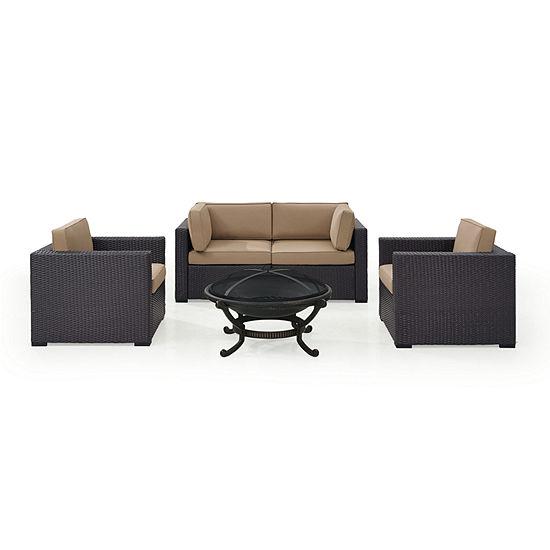 Biscayne 5-pc. Wicker Conversation Set - Armchairs, Corner Chairs, Ashland Firepit