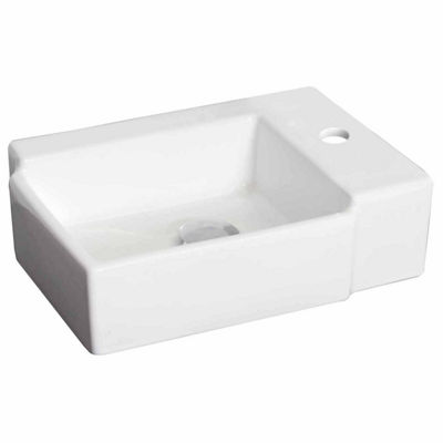 American Imaginations 16.25-in. W Above Counter White Vessel Set For 1 Hole Right Faucet