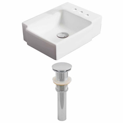 American Imaginations 16.25-in. W Above Counter White Vessel Set For 3H4-in. Right Faucet