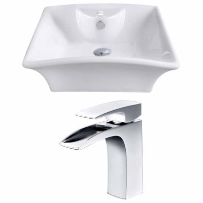 American Imaginations 19.5-in. W Above Counter White Vessel Set For 1 Hole Center Faucet - Faucet Included