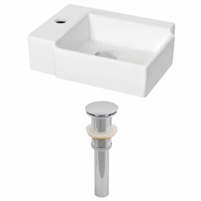 American Imaginations 16.25-in. W Wall Mount White Vessel Set For 1 Hole Left Faucet