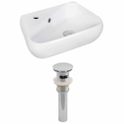 American Imaginations 17.5-in. W Wall Mount WhiteVessel Set For 1 Hole Left Faucet