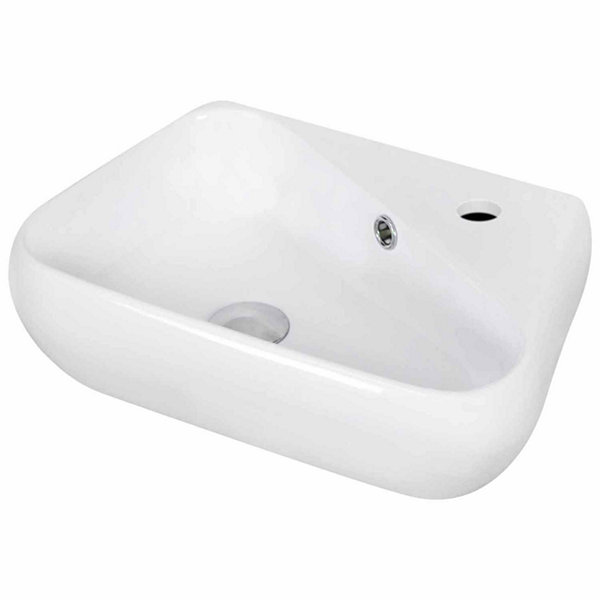 American Imaginations 17.5-in. W Wall Mount White Vessel Set For 1 Hole Right Faucet