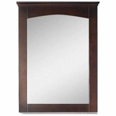 American Imaginations 24-in. W X 31.5-in. H Modern Plywood-Veneer Wood Mirror In Walnut