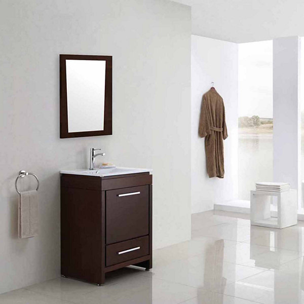 American Imaginations 29.5-in. W X 33.5-in. H Modern Plywood-Melamine Wood Mirror In Wenge