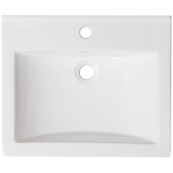 American Imaginations 21.5-in. W x 18.5-in. D Ceramic Top In White Color For Single Hole Faucet