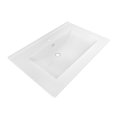 American Imaginations 23.82-in. W x 18.2-in. D Ceramic Top In White Color For Single Hole Faucet