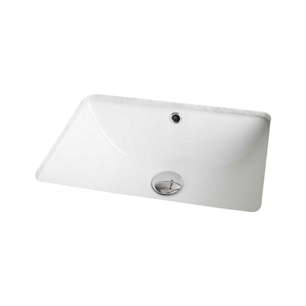 American Imaginations Rectangle Undermount Sink Set In White And Drain