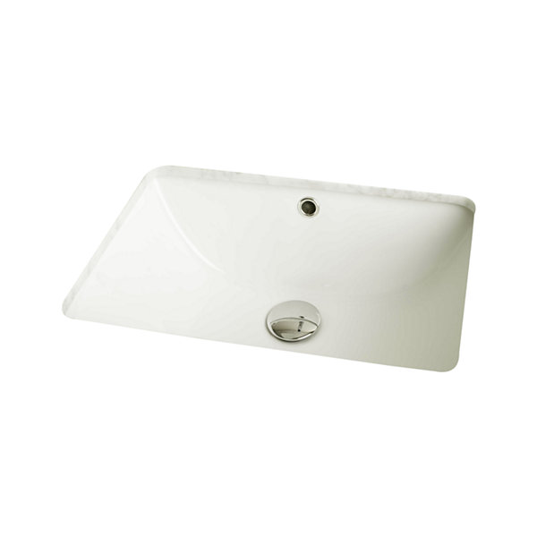 American Imaginations Rectangle Undermount Sink Set In Biscuit And Drain