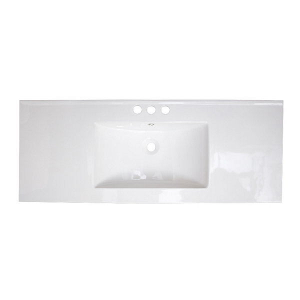 American Imaginations 39.75-in. W x 18.25-in. D Ceramic Top In White Color For 4-in. o.c. Faucet