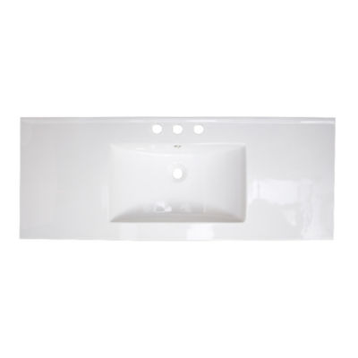 American Imaginations 39.75-in. W x 18.25-in. D Ceramic Top In White Color For 8-in. o.c. Faucet
