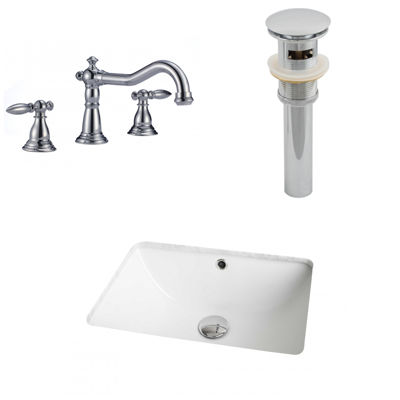 American Imaginations CUPC Rectangle Undermount Sink Set In White With 8-in. o.c.