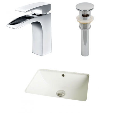 American Imaginations CUPC Rectangle Undermount Sink Set In Biscuit With Single Hole