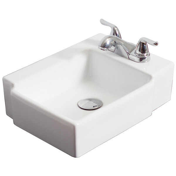 American Imaginations Ceramic Rectangular Vessel Sink