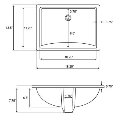 American Imaginations CUPC Rectangle Undermount Sink Set In Biscuit With 8-in. o.c.