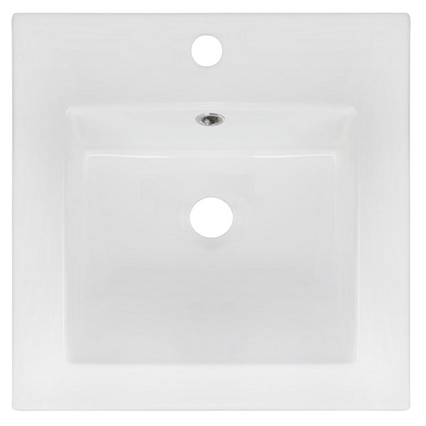 American Imaginations 16.5-in. W x 16.5-in. D Ceramic Top In White Color For Single Hole Faucet