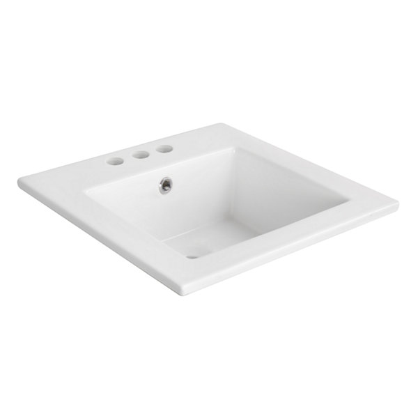 American Imaginations 16.5-in. W x 16.5-in. D Ceramic Top In White Color For 4-in. o.c. Faucet