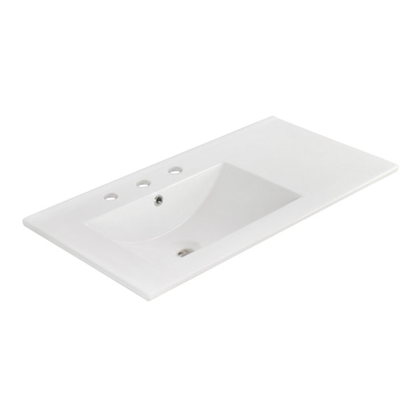 American Imaginations 35.5-in. W x 18.25-in. D Ceramic Top In White Color For 8-in. o.c. Faucet