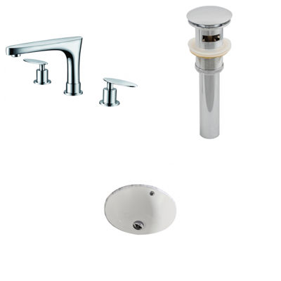 American Imaginations CUPC Round Undermount Sink Set In Biscuit With 8-in. o.c.