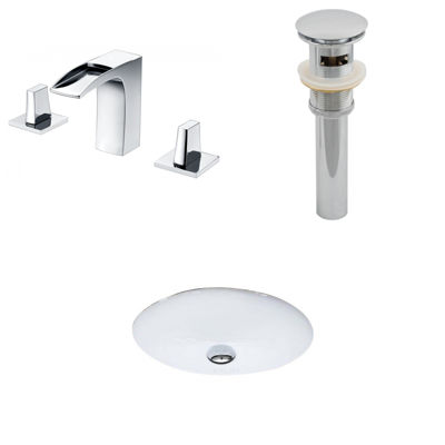 American Imaginations CUPC Oval Undermount Sink Set In White With 8-in. o.c.