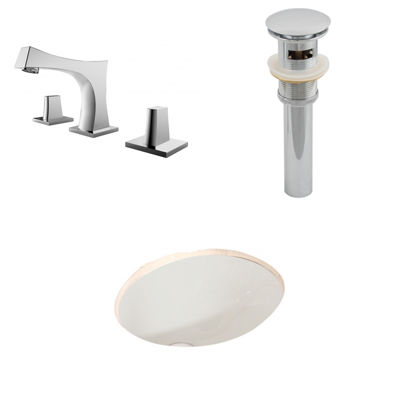 American Imaginations CUPC Oval Undermount Sink Set In Biscuit With 8-in. o.c.
