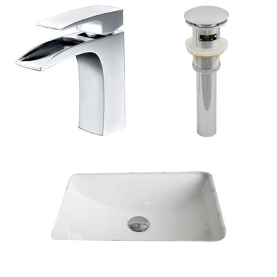American Imaginations CUPC Rectangle Undermount Sink Set In White With Single Hole