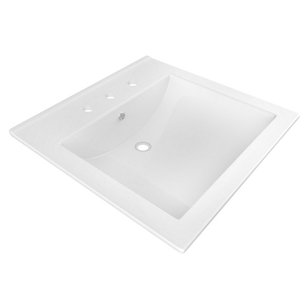 American Imaginations 21.5-in. W x 18.5-in. D Ceramic Top In White Color For 8-in. o.c. Faucet